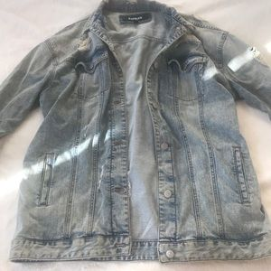 Distressed boyfriend jean jacket from Express